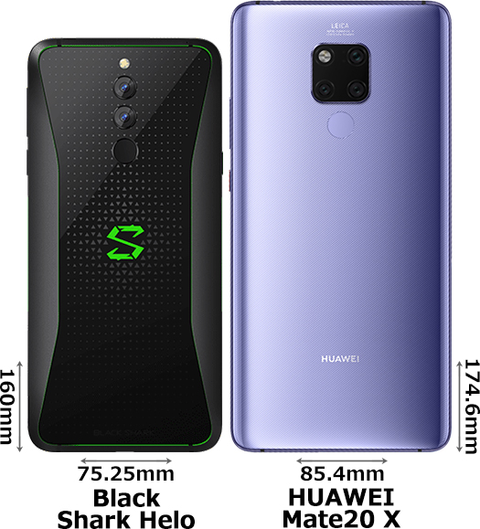 「Black Shark Helo」と「HUAWEI Mate 20 X」 2