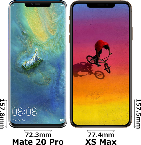 「HUAWEI Mate 20 Pro」と「iPhone XS Max」 1