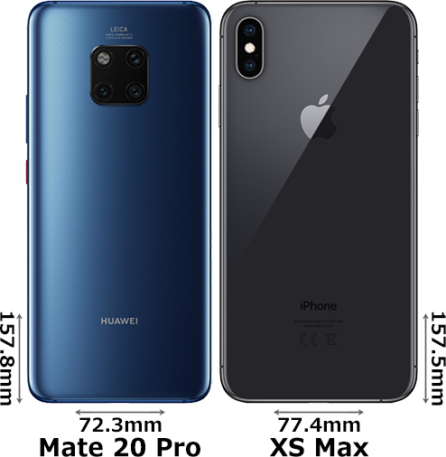 「HUAWEI Mate 20 Pro」と「iPhone XS Max」 2