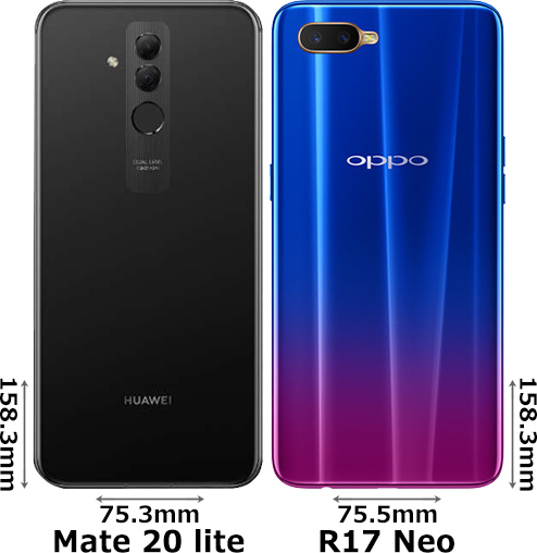 「HUAWEI Mate 20 lite」と「OPPO R17 Neo」 2