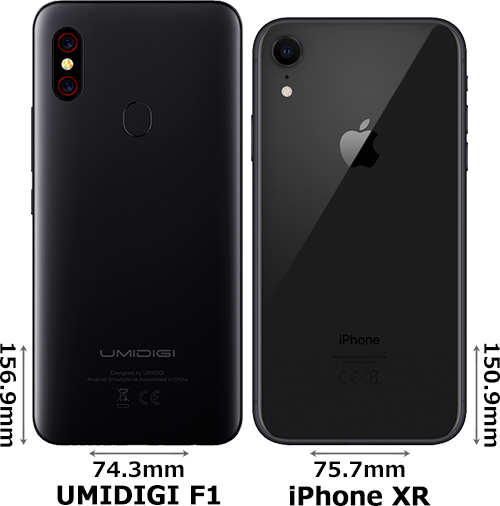 「UMIDIGI F1」と「iPhone XR」 2