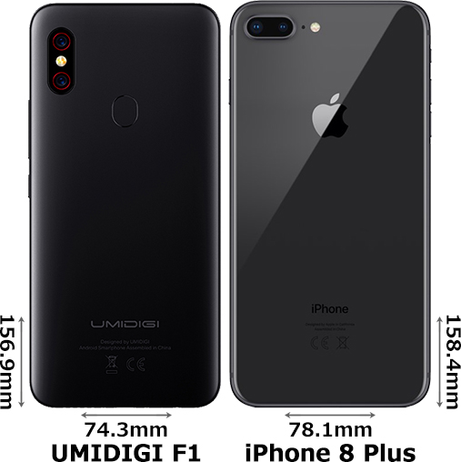 「UMIDIGI F1」と「iPhone 8 Plus」 2