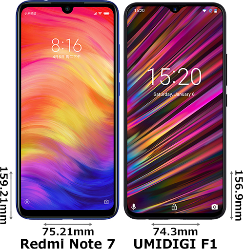 「Redmi Note 7」と「UMIDIGI F1」 1