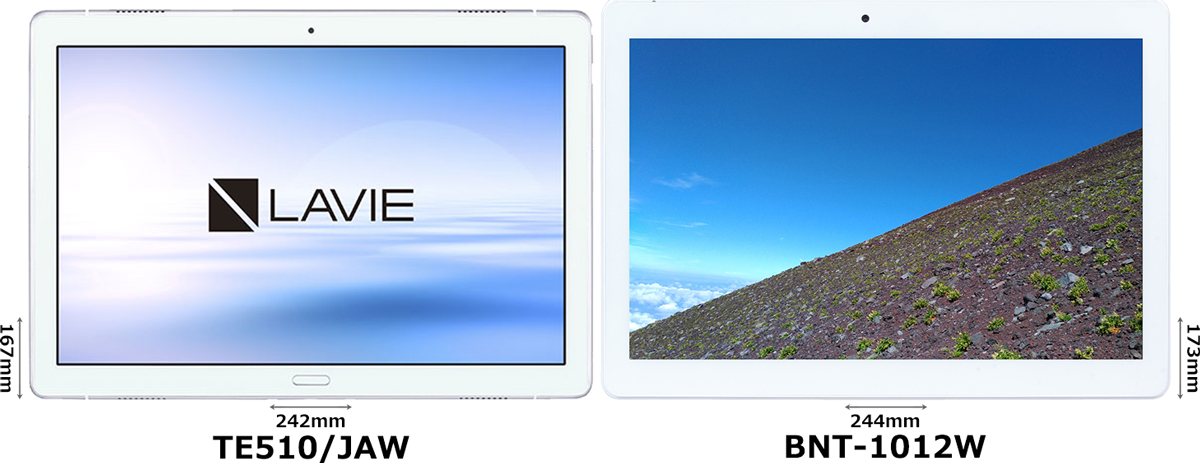 「LAVIE Tab E (TE510/JAW)」と「BNT-1012W」 1