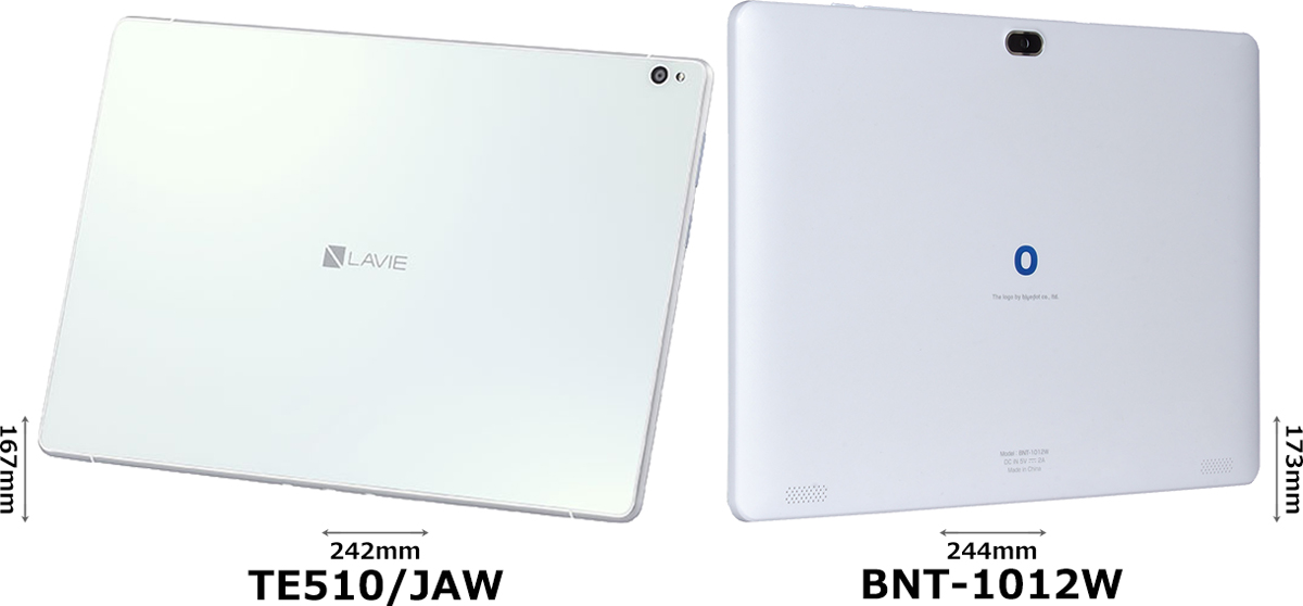 「LAVIE Tab E (TE510/JAW)」と「BNT-1012W」 2