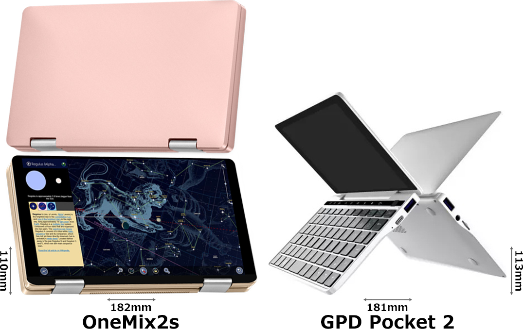 「OneMix2s」と「GPD Pocket 2」 2