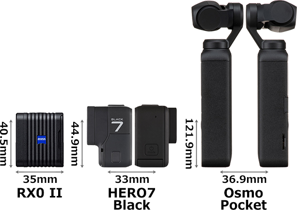 「RX0 II (RX0M2)」と「GoPro HERO7 Black」と「OSMO POCKET」 3