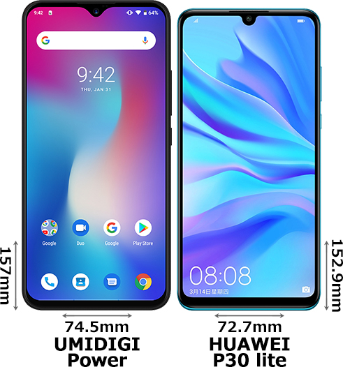 「UMIDIGI Power」と「HUAWEI P30 lite」 1