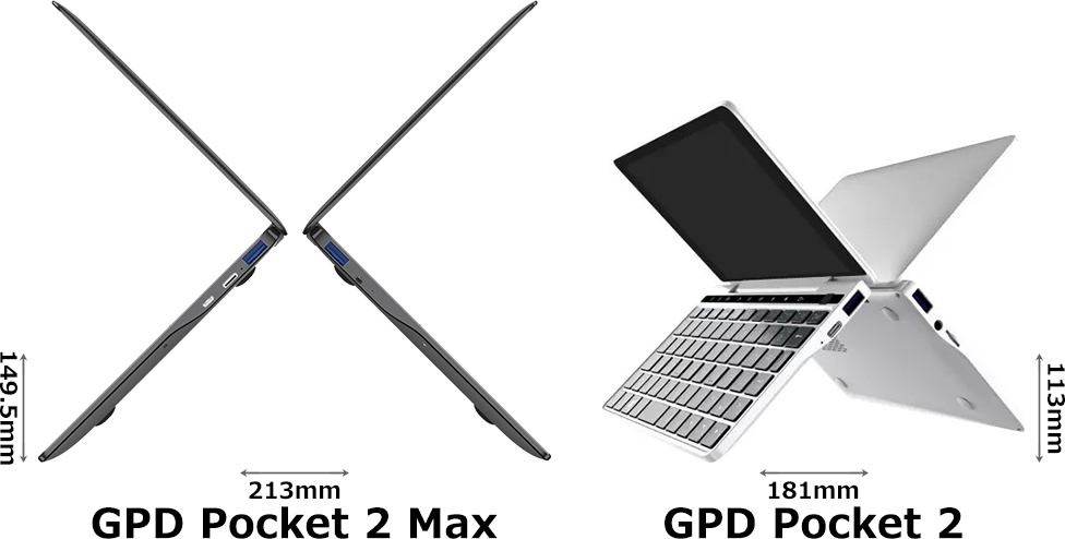 「GPD Pocket 2 Max」と「GPD Pocket 2」 2