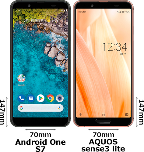 「Android One S7」と「AQUOS sense3 lite」 1