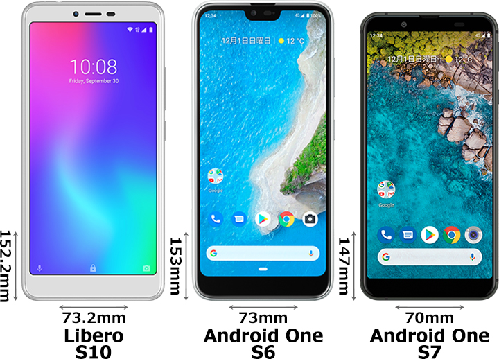 「Libero S10」と「Android One S6」と「Android One S7」 1