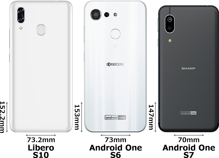 「Libero S10」と「Android One S6」と「Android One S7」 2