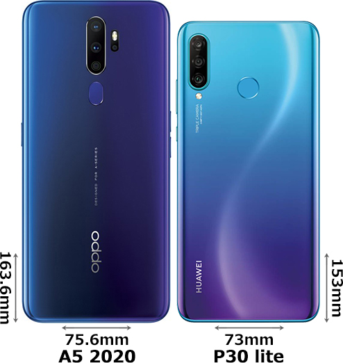 「OPPO A5 2020」と「HUAWEI P30 lite」 2