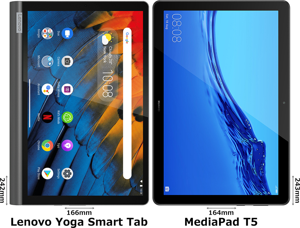 「Lenovo Yoga Smart Tab」と「MediaPad T5」 1
