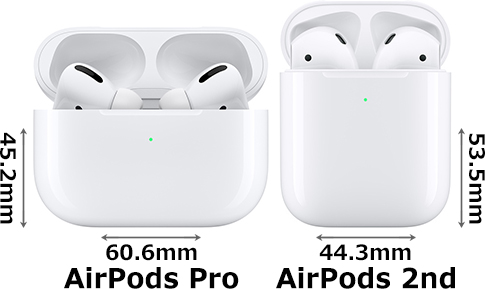 「AirPods Pro with Wireless Charging Case」と「AirPods (第2世代) with Wireless Charging Case」 2
