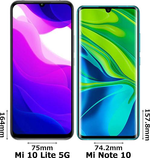 「Xiaomi Mi 10 Lite 5G」と「Xiaomi Mi Note 10」 1