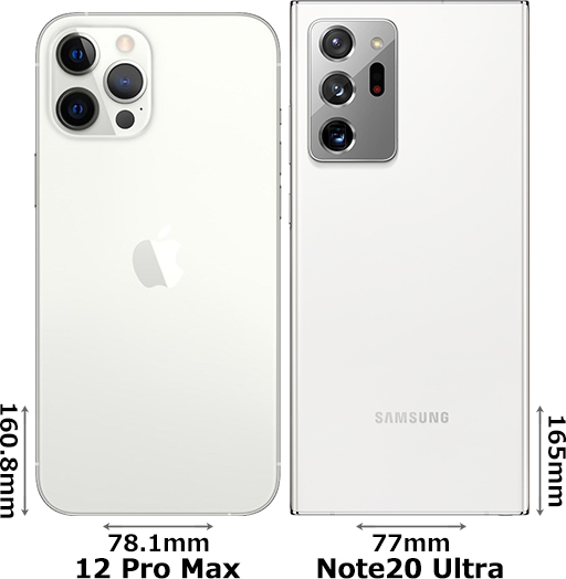 「iPhone 12 Pro Max」と「Galaxy Note20 Ultra」 2