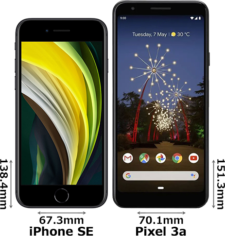 「iPhone SE (2020)」と「Pixel 3a」 1