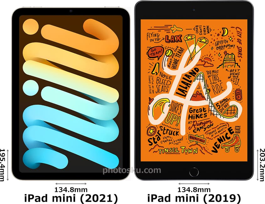 「iPad mini (2021)」と「iPad mini (2019)」 1