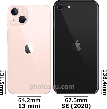 「iPhone 13 mini」と「iPhone SE (第2世代)」 2