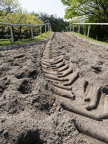 馬の蹄跡、馬事公苑の高画質画像