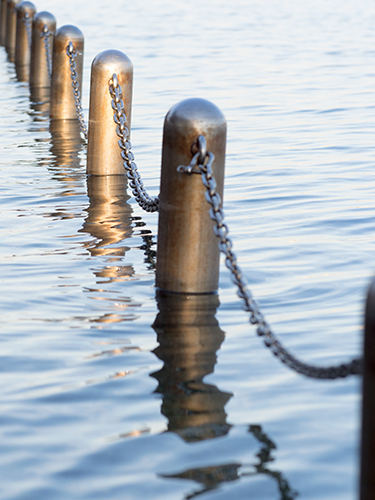 鉄の鎖、海沿いの野鳥公園の高画質画像