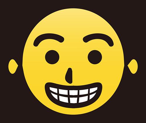 歯を見せて笑うマークのイラストの高画質画像
