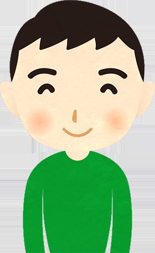 少年の笑った顔のイラストの高画質画像