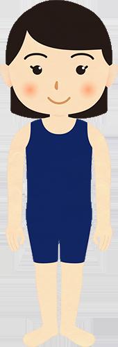 海水浴の水着姿の成人女性のイラストの高画質画像