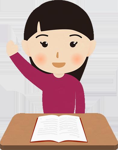 教室で手を上げる女の子のイラスト フォトスク無料のフリー高画質