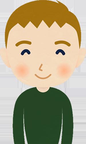 笑顔の外国人男性(西欧)のイラストの高画質画像