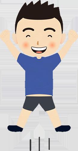 ジャンプして手を上げて喜ぶ男の子のイラストの高画質画像