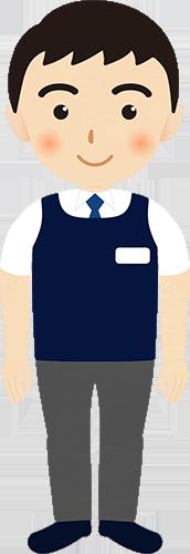 従業員姿の男性のイラストの高画質画像