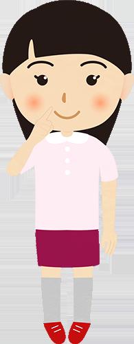 自分や鼻を指差す女性のイラストの高画質画像