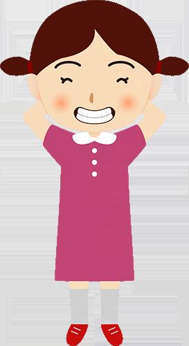 手を頭の後ろに回して笑う女性のイラストの高画質画像
