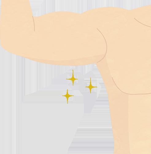 筋肉ムキムキの綺麗なワキのイメージのイラストの高画質画像