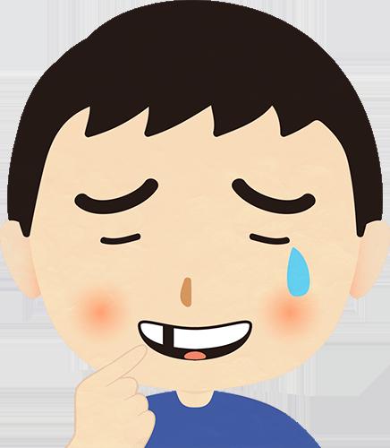 歯が抜けて泣いている男性のイラストの高画質画像