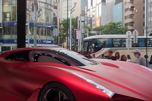 スポーツカー、銀座の町並み 26の高画質画像